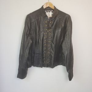 Solitaire by Ravi Kosla Faux Leather Moto Jacket
